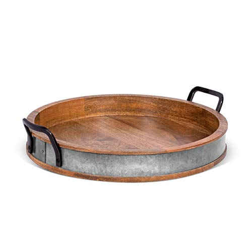 BIRDROCK HOME Wooden Serving Tray with Handles - Iron Accents - Round Barrel Top Breakfast Trays - Tea Cheese Board - Coffee Table Décor - Natural Wood with Iron - Kitchen - Bar - Large