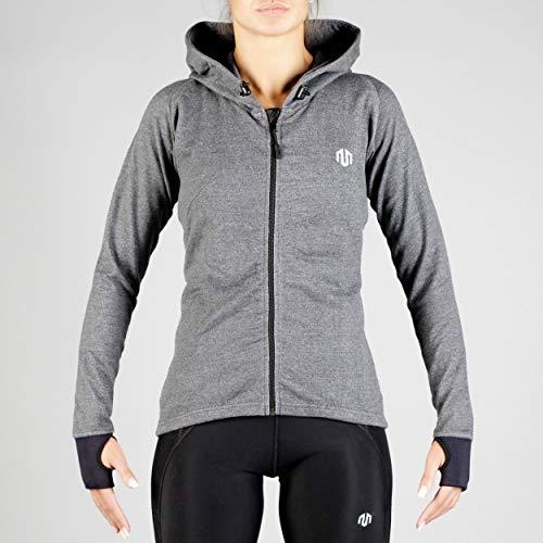 MOROTAI Comfy Performance Full Zip Hoodie Laufjacke Damen Langarm Atmungsaktiv - Funktionsjacke Trainingsjacke Reißverschluss Fitness Sport - Dunkelgrau - S