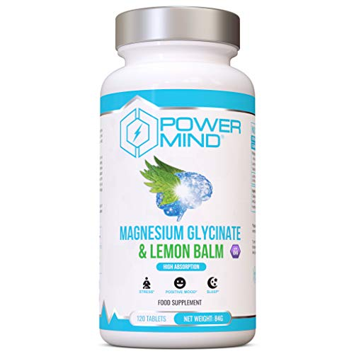 POWERMIND - Magnesium Glycinate & Lemon Balm- 300mg of Pure Elemental Magnesium Per Serving - High Absorption, Mood Booster, Stress Reducer, Natural and Vegan