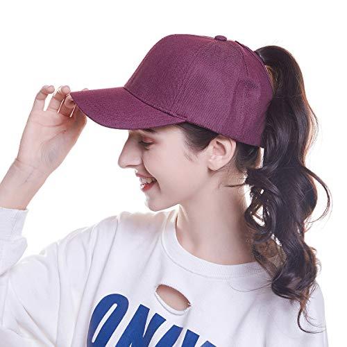 Welrog WELROG Dame Baseball Kappe Hip-Hop-Hut Verstellbar Baumwolle Pferdeschwanz Cap (Wein rot)