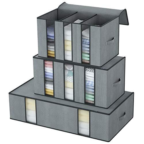 DIMJ Aufbewahrungstasche Große mit verstärktem Griff und Sichtfenster für Kleidung, Bettdecken, Bettzeug, Decken, Kissen, Plüschtiere, 3 Stück
