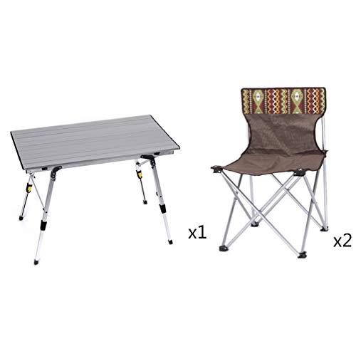 Klaptafel voor buiten, vouwtafel, klapstoelen, aluminiumlegering aan de binnenzijde, computertafel, picknick-bureau, voor eten, vissen, wandelen, reizen, koken A Table+2 Chairs