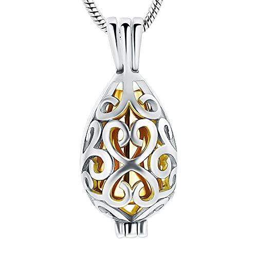 NIUBKLAS Collar conmemorativo de lágrima de Acero Inoxidable para Mujeres y Hombres, Mini urna de cremación para Cenizas, Colgante, joyería de Recuerdo, medallón de Cenizas