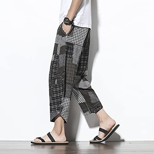 Pantalones De Harén De Algodón De Verano Casual Hombres Pantalones De Hip Hop Cruz Bloomers-Pantorrilla Pantalones Larga Streetwear (Color : Gray, Size : XXL)