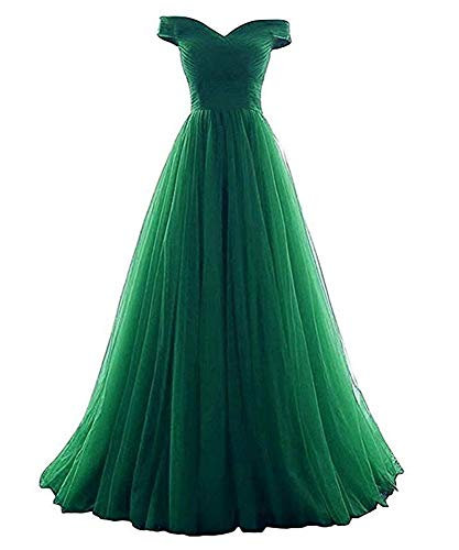 VeraQueen Women's A Line Strapless Homecoming Dress Off Shoulder Tulle Long Prom Dress Green