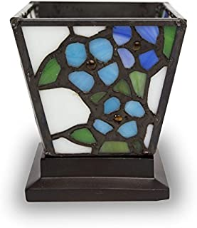 Forget-Me-Not Stained Glass Cremation Keepsake for Sharing Ashes - Extra Small Holds 1 Cubic Inch of Ashes - Blue Remembrance Memorial Candle for Ashes - Engraving Sold Separately