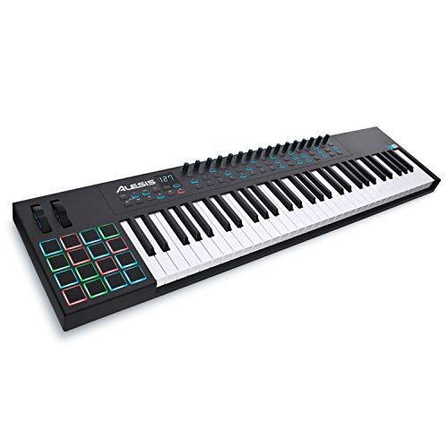 Alesis, 61-key 61-Key USB Keyboard Controller Pads, 16 Assignable Knobs, 48 Buttons and 5-Pin MIDI Out, Plus a Professional Software Suite with ProTools | First Included, 61-key (VI61)