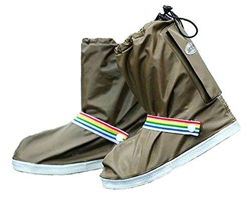 ジェイ シー ティー ワイ J_C_T_Y 靴の上から履ける 滑らない 防水 レインシューズカバー ユニセックス J_C_T_Y収納袋 セット 2XL, ブラウン