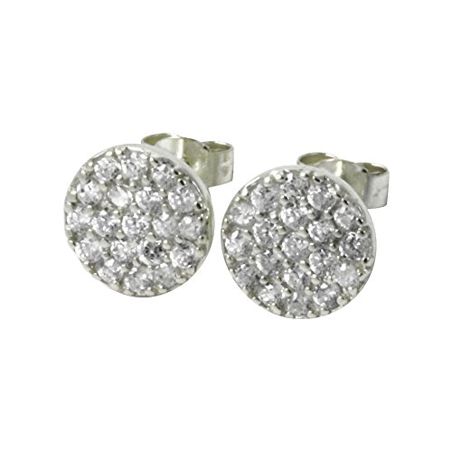 apop nyc Sterling Silver Pave CZ Stone Coin Stud Earrings 9mm [Jewelry] (sterling-silver)