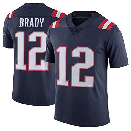 American Football Jersey Patriots Kinder, Edelman 11 Brady 12 Hightower 54 Gronkowski 87 Rugby Uniform T-Shirt Top Stickerei Shirt, Studenten Quick Dry Sportswear V-Ausschnitt No 12 Blue-M