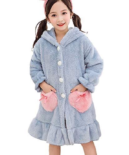 【Angelicate】ふわふわ バスローブ キッズ レディース ナイトガウン ルームウェア フード付き 女の子 うさぎ もこもこ 子供 寝間着 部屋着 長袖 パジャマ