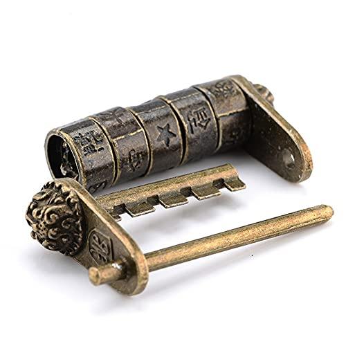 Bloqueo de teclado 50 * 28mm Alloy de zinc Chino Vintage Antiguo Candado Keyed Cadlock Retro Combinación Contraseña Lock Jewelry Box Candado Sólido y confiable (Color : A)