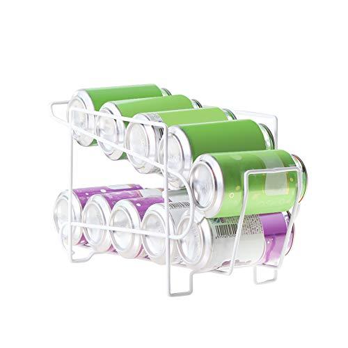 Dispensador de latas de bebidas en el refrigerador para alimentos enlatados, estante de almacenamiento de mesa, para almacenamiento de alimentos, gabinetes y cajones, blanco