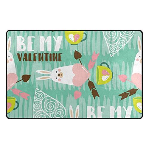FANTAZIO Zone Tapis Accessoires BE My Valentine Bunny d'entrée Paillasson pour Les Coins et Edge Anti-enroulement Idéal Tapis Bouchon 31 x mâle/mâle/60 x 39in, Polyester, 1, 31 x 20 inch