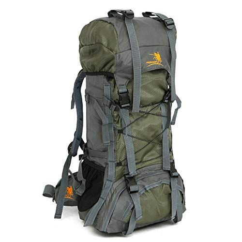 Liusujuan 60L outdoor sports bag waterproof oxford mountaineering bag hiking backpack (Color : Green)