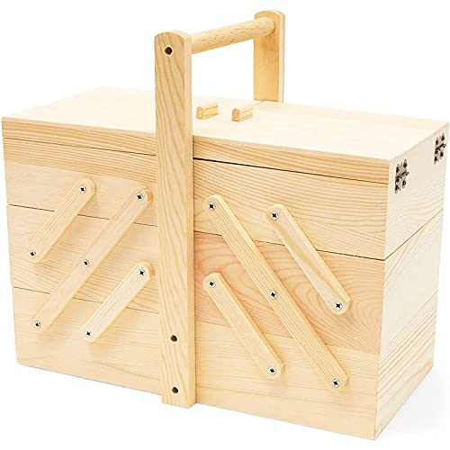 Juvale Wooden Sewing Box with 3 Tier Drawers (12.5 x 8.25 Inches)