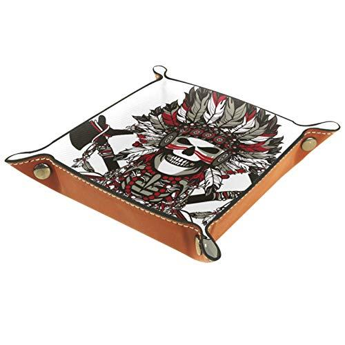 rodde Bandeja de Valet Cuero para Hombres - Cráneo Tribal Indio Cool - Caja de Almacenamiento Escritorio o Aparador Organizador,Captura para Llaves,Teléfono,Billetera,Moneda