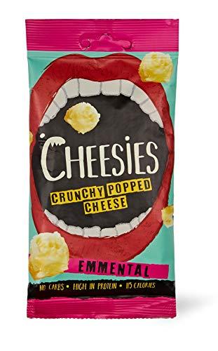 Cheesies Knuspriger gepoppter Käse-Snack, Emmentaler. Ohne Kohlenhydrate, mit hohem Proteingehalt, glutenfrei, vegetarisch, Keto. Emmentaler 12 x 20g Packungen