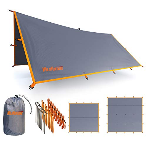 WildVenture Tent Tarp Rain Fly - Waterproof Lightweight Survival Gear Hammock Shelter for Camping, Backpacking, and Outdoor Living - 9.8' x 9.3' Tarp Tent (Grey)…