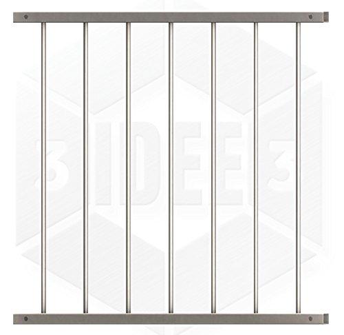 Fenstergitter Quadrat 1 - Edelstahl geschliffen K240 - frei konfigurierbar Größe Höhe: 901-1100 mm; Länge: 0-400 mm