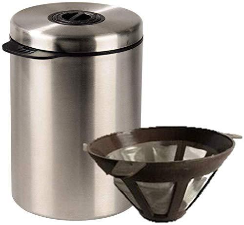 James Premium Kaffeedose mit Kaffelöffel + Dauer-Kaffeefilter Größe 4 (für 1kg Kaffeebohnen, Tee, Kakao, mit Aromaverschluss, Dauerfilter für Filterkaffeemaschinen und Tee, Ø 12 cm, Höhe 10 cm)