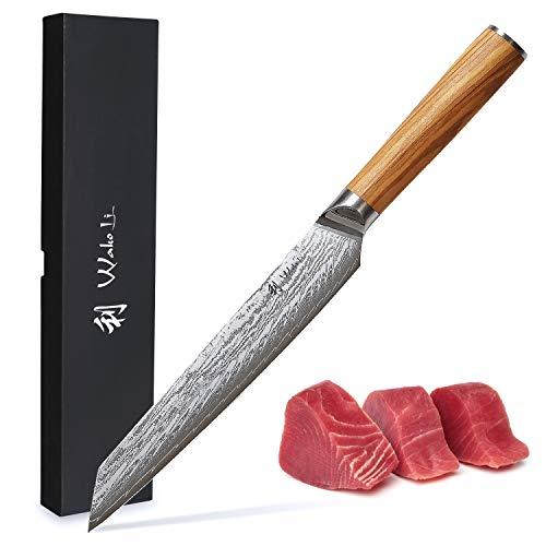 Wakoli Oribu Fleischmesser 20 cm extrem scharfe Klinge aus 67 Lagen I Damast Küchenmesser und Profi Kochmesser aus echtem japanischen Damaststahl mit Griff aus Olivenholz