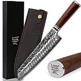 YOUSUNLONG Kiritsuke - Cuchillo de chef japonés de 10 pulgadas, 67 capas, afilado, de acero inoxidable de Damasco, afilado, mango de nogal natural con funda de cuero