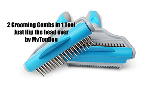 MyTopDog Dog Grooming Comb Pet Hair Remover | Deshedding & Dematting Comb for Dogs Short & Long Fur | Grooming Kit for Pets at Home Groom Professional