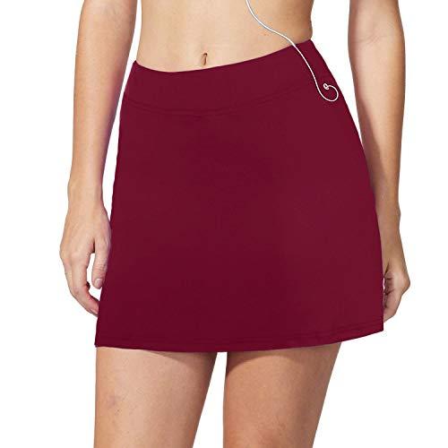 iClosam Falda de Golf Falda de Tenis Corta Deportivo para Mujer Moda y Comodo (Rojo Oscuro, M)