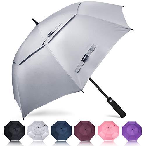 ZOMAKE Golf Regenschirm, Premium Qualität, 157cm Groß, Sturmsicher, Automatik - Automatisch zu öffnen, Regen- und Windresistent Golfschirme (Hellgrau)