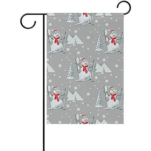 Tuinvlaggen Dubbele Zijde Yard House Yard Flag,Ski Outfit Sneeuw bedekt bomen Perfect voor Indoor Outdoor Tuin Yard Decoratie 32X45.7CM