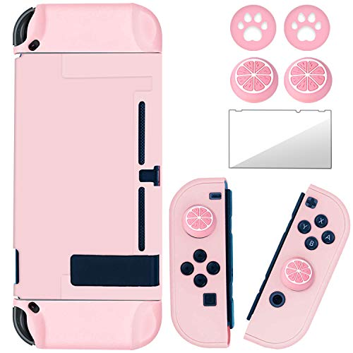 BRHE Dockable Switch Protective Case Cover for Nintendo Switch Joy-Con Controllers with Glass Screen Protector, Anti-Scratch Shock-Absorption Grip Cover - Pink