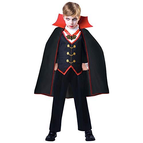 amscan 9904767 - Costume per bambini Dracula, a maniche lunghe, mantello, vampiro, ventosa, pipistrello, feste a tema, carnevale, Halloween