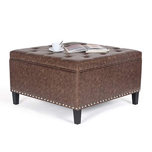 Homebeez Tufted Storage Ottoman Bench PU Leather Square Footstool with Wood Legs (Light Brown)