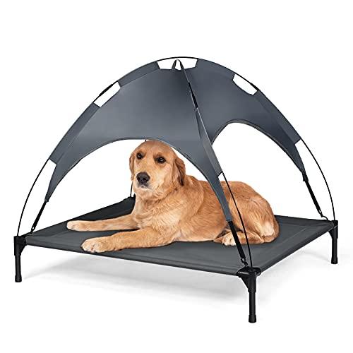 DREAMADE Hundeliege mit Baldachin, Erhöhtes Hundebett Hundeliegeplatz aus Stoff, Haustierbett mit Dach, Schlafplatz für Hunde bis 40 kg/ 50 kg, Haustierbett für Indoor & Outdoor (XL)
