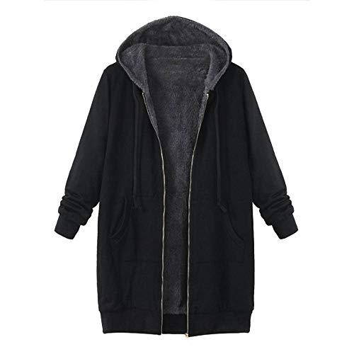 KIMODO Mantel Damen, Jacken Winter Warme Hoodie Winterjacke Wintermantel Taschen mit Kapuze Vintage Coats Outwear (Schwarz, Large)