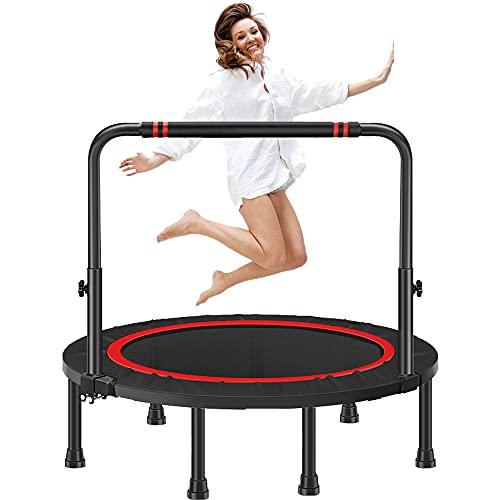 Fitness Trampolin, Trampolin Kinder, Trampolin faltbar, Jumping Fitness Trampolin Indoor, Fitness Trampolin Für Erwachsene, Höhenverstellbarer Haltegriff, Fitness Trampolin, Faltbare Trampoline