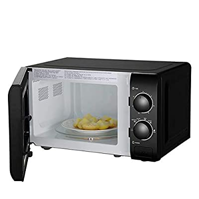 Small Microwaves Countertop Microwaves Small Space, Mini Compact Microwave Oven for Dormitory, Apartment, 700W, 20L, 0.7 Cu Ft, Stainless Steel, Mechanical Knob/Button Door Switch, Black