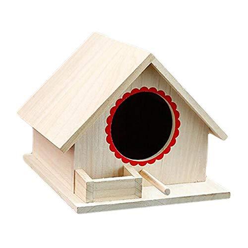 Casetta per Uccelli in Legno Naturale Nido di Uccellino Pappagallo Domestico Sicuro e duraturo Piccolo Giardino all'aperto Parrot Bird Nest Casa per Uccelli in Legno