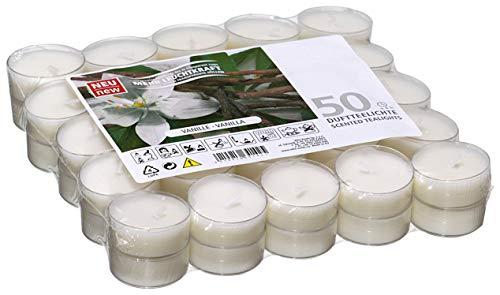 Candelo - Juego de 50 velas aromáticas (aroma de vainilla, 1,8 x 3,5 cm, 4 horas de combustión, velas de té en color blanco)