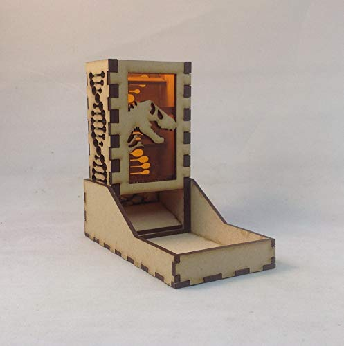 T Rex Fossil Mini Dice Tower v1 Amber Acrylic Window Laser Cut MDF Unique Gift