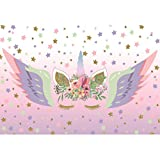 Cassisy 2,2x1,5m Vinilo Unicornio Telon de Fondo Fondo de Pantalla de Sparkle Stars Decoracion Floral Unicornio Alas De Ángel Fondos para Fotografia Party bebé Infantil Photo Studio Props Photo Booth