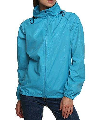 Zeagoo Damen Lightweight Softhelljacke Windjacke Outdoor Regenjacke Übergangsjacke Hoodie Kapuzenjacke Jacket Atmungsaktiv (EU 42(Herstellergröße:XL), Hellblau)