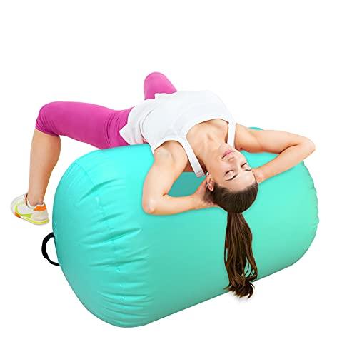 Air Roll Airspot, esterilla de gimnasia hinchable, barril de aire, ruedas de aire, pistas de ejercicio, columna con bomba para gimnasio, entrenamiento, yoga (verde, 100 x 60 cm)