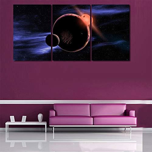 WSNDGWS HD sterrenhemel schilderij triple universum planet inkjet kunstenaar resistentie decoratief schilderij zonder fotolijst 50x70cmx3 B3.