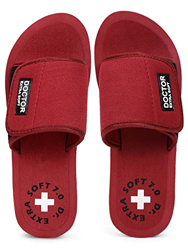 DOCTOR EXTRA SOFT Slipper for Womens - Orthopaedic and Diabetic Comfort Ortho Care,Pregnancy Flip-Flop, Slides and House Slipper for Womens - Maroon 4 UK