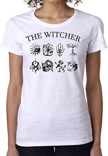 The Witcher Symbols Dragon Wolf Lion Moon Women's T-Shirt Camiseta