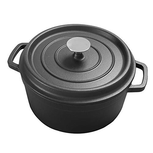 Cocotte Ronde En Fonte Avec Couvercle For Cuisines Privées, 4,5 L cadeau (Couleur : Noir)