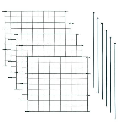 ESTEXO Teichzaun Set mit 5 Zaunelementen und 6 Befestigungsstäben, Welpanauslauf, Metall, Gartenzaun, Freigehege, Teich, Zaun, Set, 5 Elemente, Gitterzaun (Gerade)