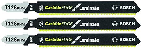 BOSCH T128BHM3 3 Pc. 3.62 In. 14 TPI Carbide Teeth T-Shank Jig Saw Blades for Laminates